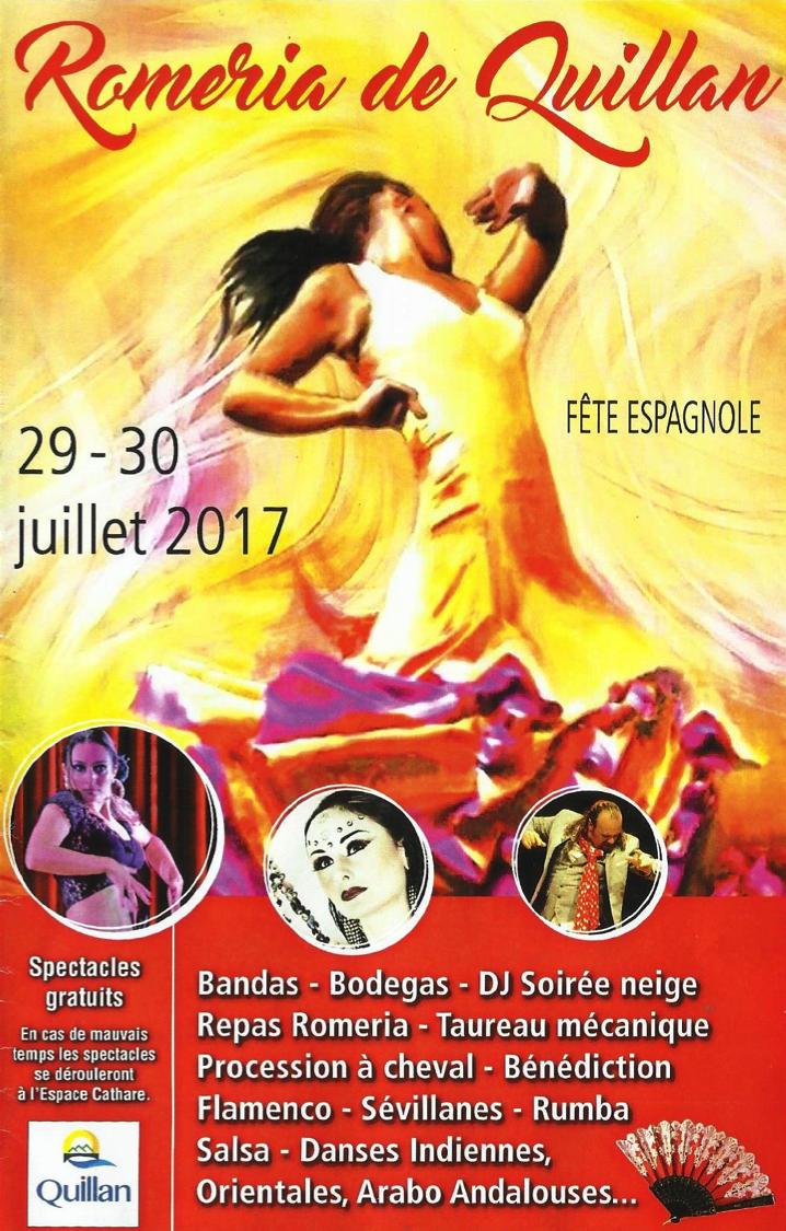 Quillan (09) le 30 juillet 2017 à 20h30 – spectacle Sur la route du Flamenco